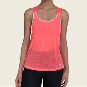 Workout top with attached sports bra
